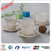 Home Utensils China Housewares Turkish Products / Color Rims Embossed Drinkware Mug Cup Tray Plate / Wholesale Tea Cups Saucers