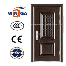 Madeira Brown Cor Segurança Iron Metal Steel Door (WS-115)
