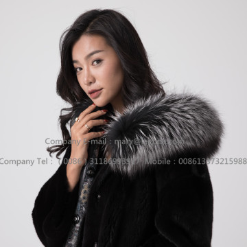 Overcoat For Women Mink Fur Reversible