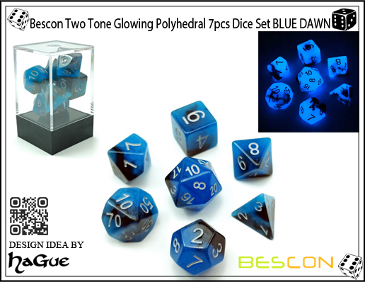 Bescon Two Tone Glowing Polyhedral 7pcs Dice Set BLUE DAWN-1