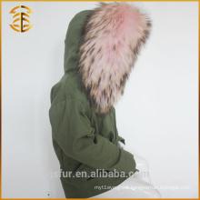 2017 Fashionable Children Real Fox Raccoon Long Fur Parka