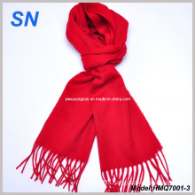 Scarlet Red Wool Fringe Scarf