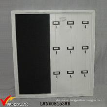 Wood Shabby Chic White Key Organizer with Blackboard