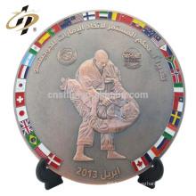 Professionnel personnalisé à domicile de haute qualité plat lutte plat sport match souvenir plaques métalliques plaques