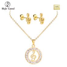 Chapado en oro Crystal Music Note colgante collar y pendientes de la joyería