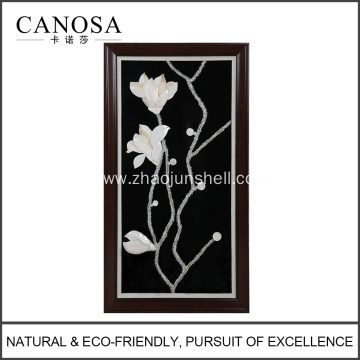 CANOSA White seashell hand engraving magnolia Wall Picture with wood frame