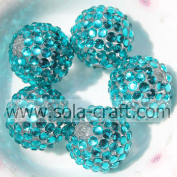 20 * 22MM Turquoise Fashion groothandel solide Rhinestones bal harsparels