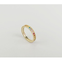 Hot selling sterling silver cubic zirconia eternity ring 925 sterling silver gold plated ring ladies smart rainbow jewelry