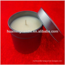 scented candle in tin box