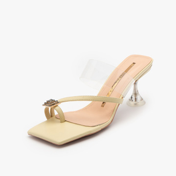 2021 crystal with high heel transparent strap sandals