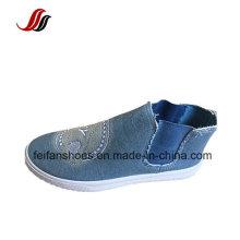Sapatos de Injeção de Lona de Cor Pura, Deslizamento em Sapatas com Spandex