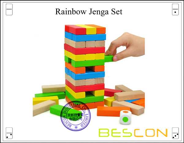 Rainbow Jenga Set