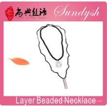 Boho Necklace Fashion Bijoux Colgante de cristal con capas de abalorios negro