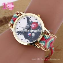 La dernière montre bracelet avec bracelet tissé / lady montres pour femmes BWL024