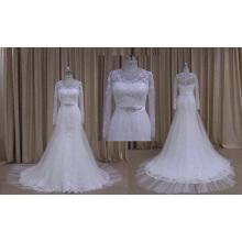 Горячая Продажа длинным рукавом кружева свадебное платье с бисером пояса