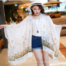 Fashion women print floral butterfly spring summer cape shawl scarf