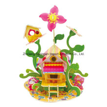 Brinquedo de madeira para brinquedos DIY casas-flor casa