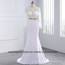 Elegant Sexy Scoop Wedding Dress Satin Sheath Wedding Dress