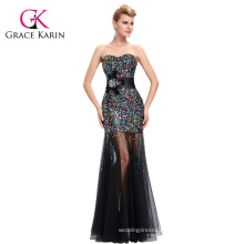 Grace Karin New Design See Through Black Lace Ladies Sexy Sequins Prom Dress CL6026