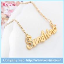 Hip hop jóias carta pendente colar de ouro colar de corrente colar