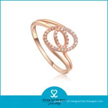 Genuine Rose Gold Plating jóias de prata anel com CZ (R-0004)