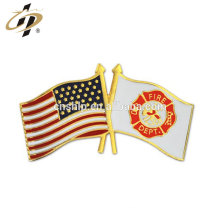 Custom metal Fire Department and USA Flag Lapel Pin