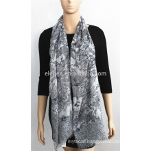 Black Flower Printed Cotton Scarf