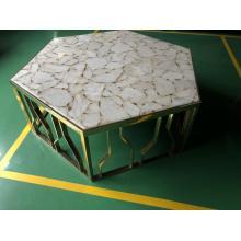 white agate hexagon semiprecious stone table