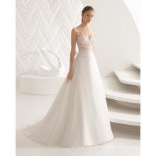 Cap Рукавом Sheer Кружева Топ Органзы Свадебное Платье Свадебное Платье