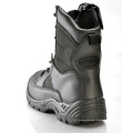 Long Black Leather Police Boots with Zipper