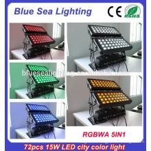 72pcs x 15w rgbwa 5in1 ip65 напольный свет шайбы стены водить