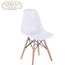 Silla escandinava al por mayor de estilo nórdico, bonita, de plástico y madera, silla blanca