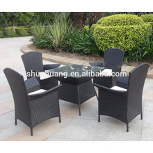 latest design PE rattan wicker dining chair sets armrest chair