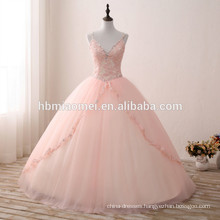 Puffy ball gown princess dress pink color deep v neck bridal wedding dress tulle colorful flower wedding dress