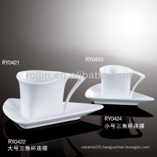 triangle shape porcelain cup,porcelain coffee cup with lid