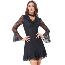 Kate Kasin Sexy Women's Long Sleeve High Neck Hollowed Front Hips-Wrapped Black Lace Dress KK000682-1