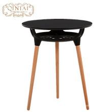 Gros Chine Alibaba meubles rond en MDF en plastique avec panier de rangement en bois à manger café snack table de jardin en plein air