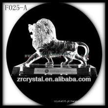 K9 Mão de Cristal Esculpida Leão com Base