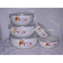 5pcs enamel mixing bowl with plastic cover