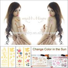 Impermeable de moda de metal cambiante color tatuaje pegatina con sol BS-8030
