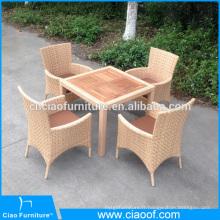 Nouveau design beige meubles en rotin table à manger et chaises pour le projet