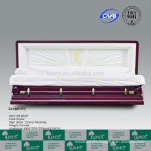 Hand Carved Wood Casket Coffin For Funeral With Chinese Dragon Carved