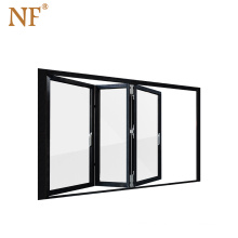Aluminium internal bi folding window with clear tempered glass