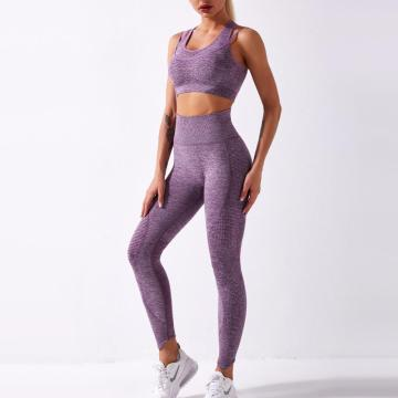 Fitness Leggings und BH Sports Gym Wear Hoch taillierte Frauen Nahtloses Yoga Set