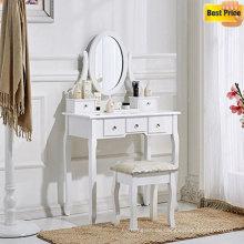 Weiß Schminktisch und Stuhl Make-up Schreibtisch mit Hocker 5 Schubladen und Oval Mirror Schlafzimmer