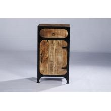 Industrial Vintage Iron Wood Bedside Table