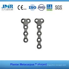 Metal Trauma Bone Implante Ortopédico Phalange Matacarpus T em forma de placa