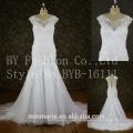 Appliques Lace Tulle Customize vestido longo White cap Sleeves mermaid Wedding Dress