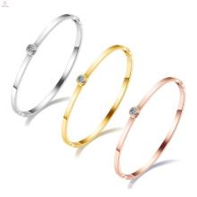 Stainless Steel Anniversary Gifts For Girls Crystal Women Open Bangle Bracelet
