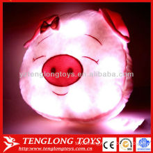 2015 Hot sale LED night light pink lovely pig head lighted pillow